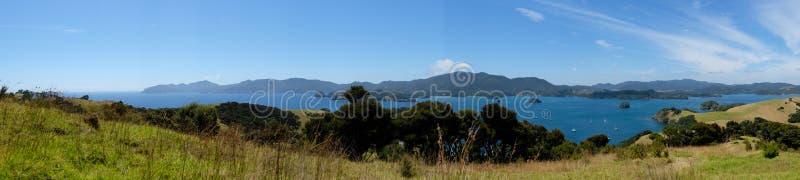 Panorama of Bay of Islands, New Zealand, NZ from Urupukapuka Isl. And walking track royalty free stock image