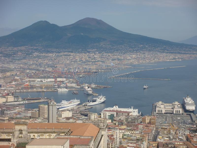 Panorama of the bay of Naples with the Vesuvio after all seen by the tall one. Italy stock image