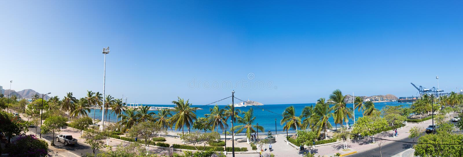 Panorama of the bay of Santa Marta, Colombia. SANTA MARTA, COLOMBIA, JANUARY 23: Panorama of the bay of Santa Marta with the port in the background, Colombia royalty free stock image