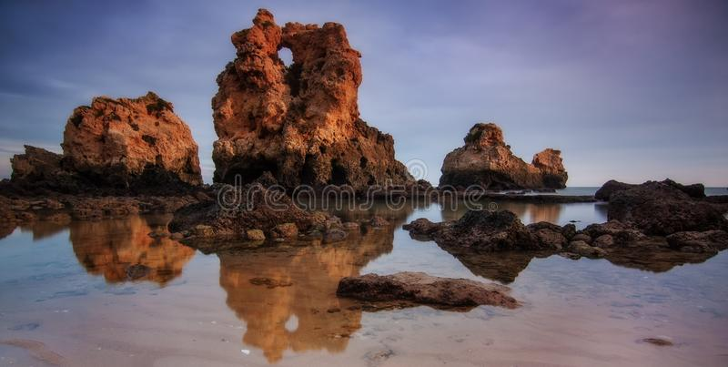 Panorama of the beach Arrifes in Albufeira. Portugal stock images