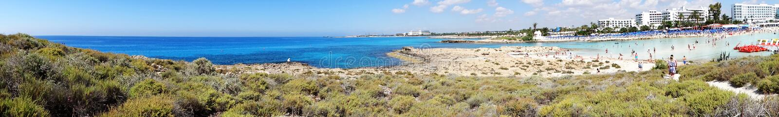 Panorama beach coast landscape mediterranean sea Cyprus island stock photography