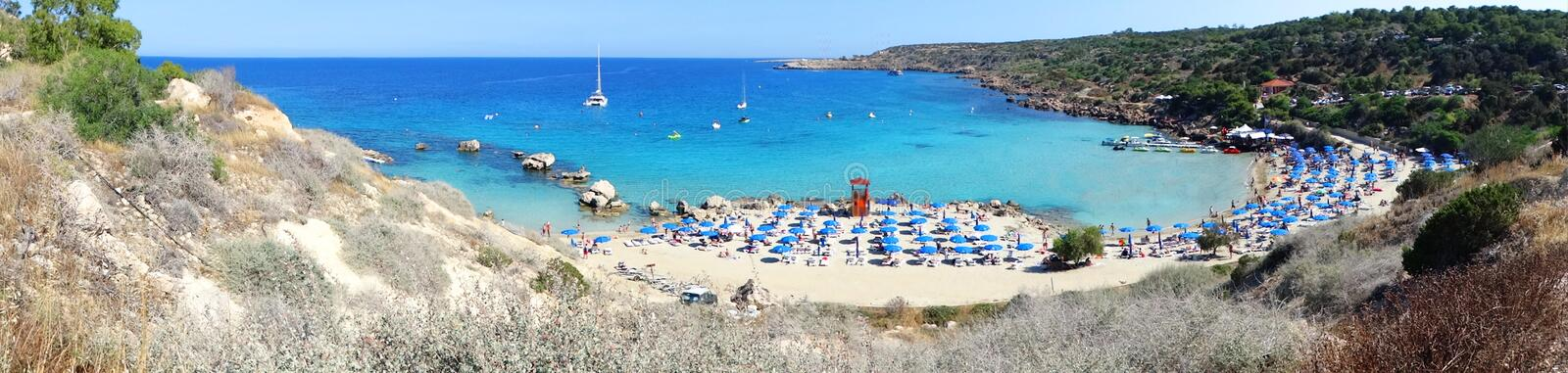 Panorama beach coast landscape mediterranean sea Cyprus island stock photos