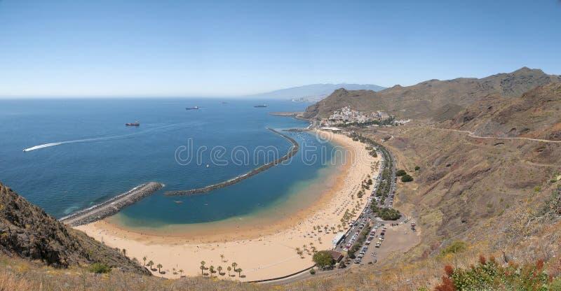 Panorama of beach Las Teresitas, Tenerife, Canary Islands, Spain. Playa de Las Teresitas, a famous beach near Santa Cruz de Tenerife in the north of Tenerife stock image