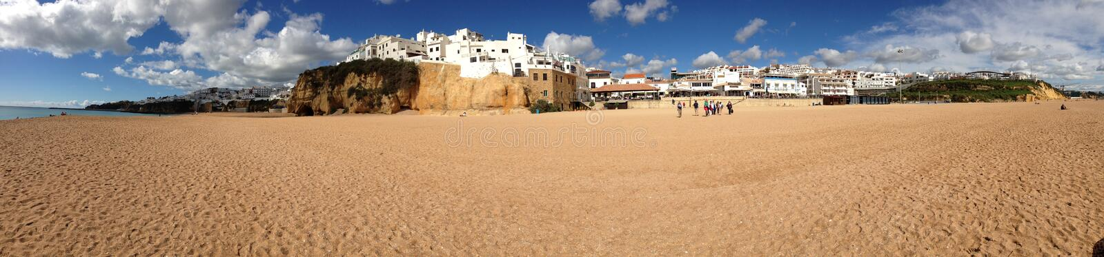 Panorama from the beach in Portugal royalty free stock photo