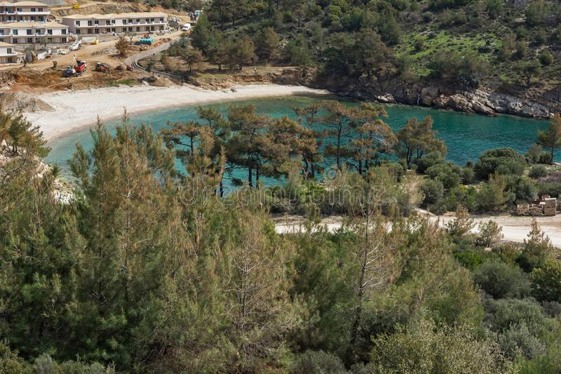 Panorama of beach at Thassos island, East Macedonia and Thrace, Greece. Amazing panorama of beach at Thassos island, East Macedonia and Thrace, Greece royalty free stock photos