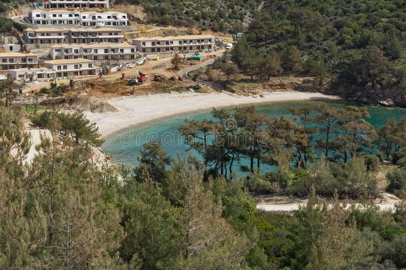 Panorama of beach at Thassos island, East Macedonia and Thrace, Greece. Amazing panorama of beach at Thassos island, East Macedonia and Thrace, Greece royalty free stock photo