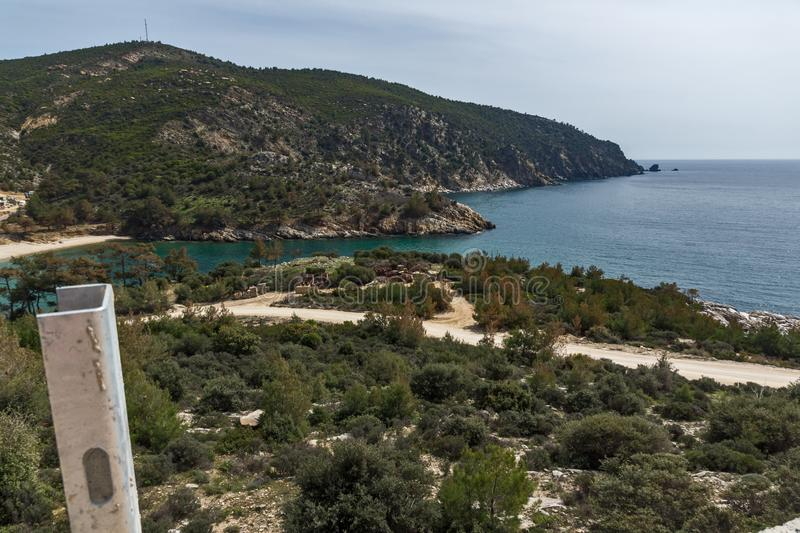 Panorama of beach at Thassos island, East Macedonia and Thrace, Greece. Amazing panorama of beach at Thassos island, East Macedonia and Thrace, Greece stock photography