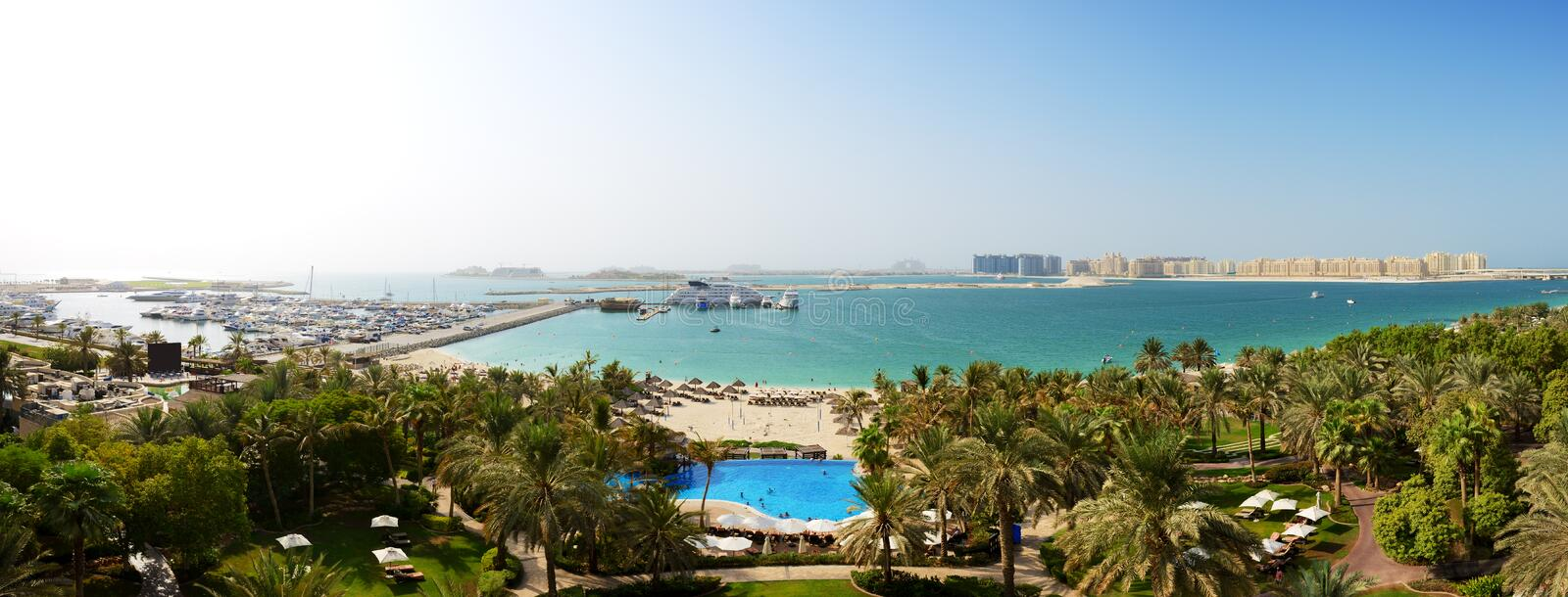 Panorama of beach with a view on Jumeirah Palm stock photo