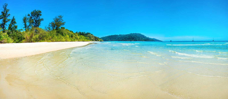 Panorama of beautiful beach royalty free stock photography