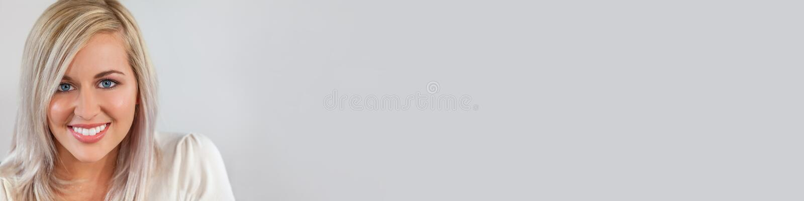 Panorama of Beautiful Blonde Girl Young Woman With Perfect Teeth stock images
