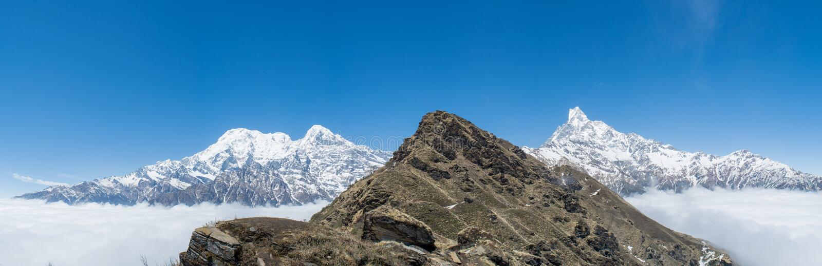 Panorama of beautiful Himalaya mountains covered with snow at Mardi Himal trekking area. In Nepal royalty free stock photos