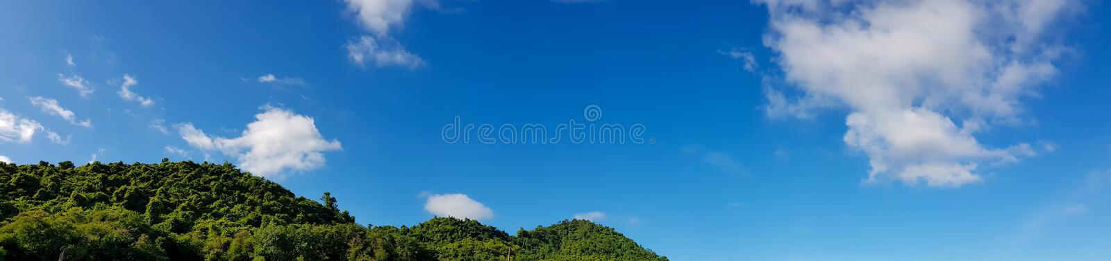 Panorama of Beautiful landscape mountain with clear blue sky and white cloud background. Clearing day and Good weather in the stock images