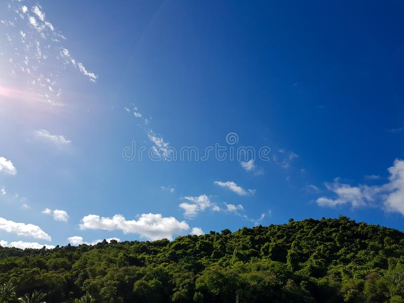 Panorama of Beautiful landscape mountain with clear blue sky and white cloud background. Clearing day and Good weather in the royalty free stock photos