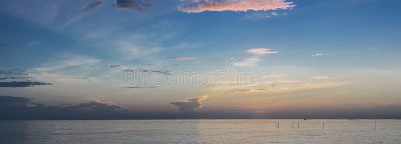Panorama beautiful landscape of summer sunset or sunrise. Beautiful landscape of summer sunset or sunrise songkhla thailand royalty free stock images
