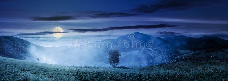 Panorama of beautiful mountainous countryside at night stock images