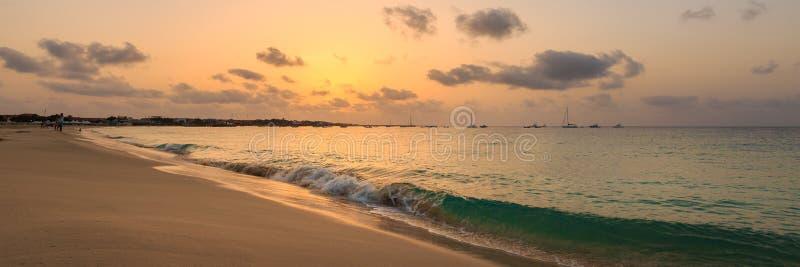 Sunset over atlantic ocean, panorama. Panorama of beautiful sunset over ocean at Santa Maria city, Sal, Cabo Verde, Cape Verde stock images