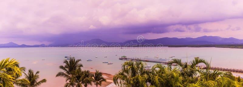Panorama view of Sapum bay and Phuket town when raining, Thailand royalty free stock photos