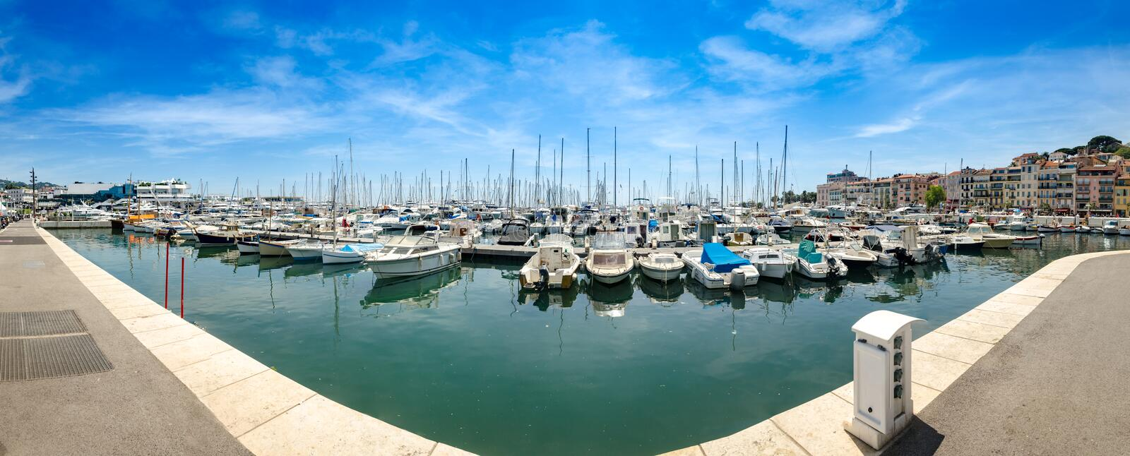 Panorama of beautiful white modern yachts at sea port in Nice, France stock images