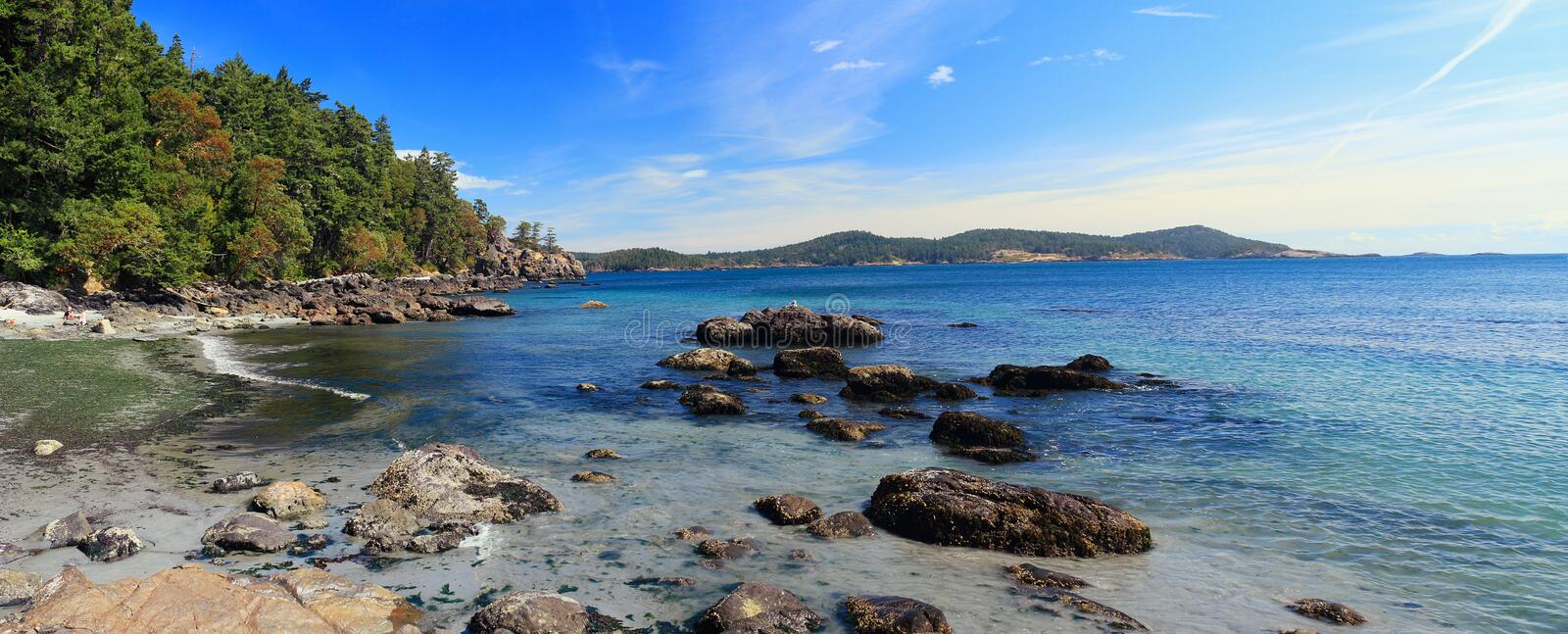 East Sooke Park, Vancouver Island, British Columbia, Canada - Landscape Panorama of Becher Bay. East Sooke Park, Vancouver Island, British Columbia, Canada stock photos