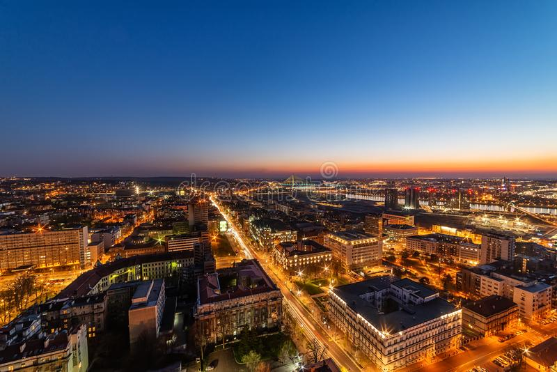 Panorama Belgrade przy nocą fotografia royalty free