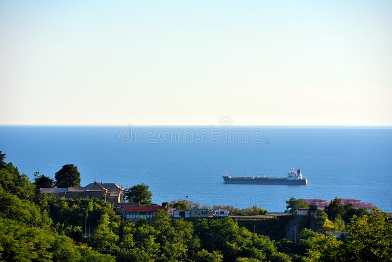 Genoa and the promontory church stock images