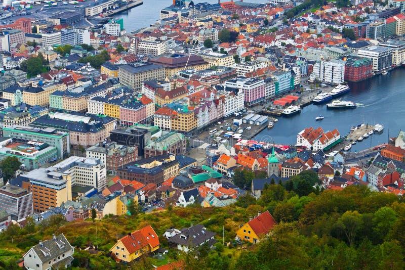 Panorama of Bergen, Norway stock photography