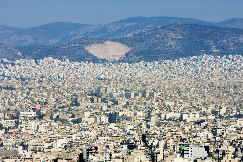 Panorama- beskåda av Athens arkivbild