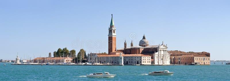 Panorama- beskåda av den San Giorgio ön, Venedig (Italien) arkivfoto