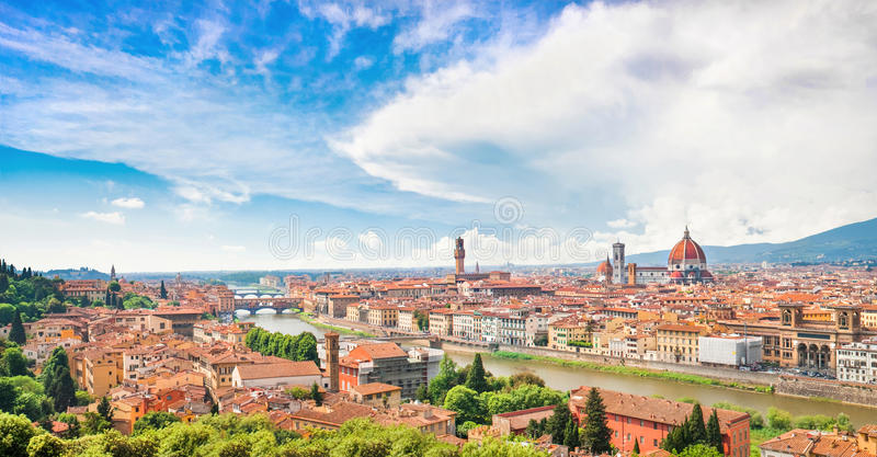 Panorama- beskåda av Florence, Italien arkivfoton