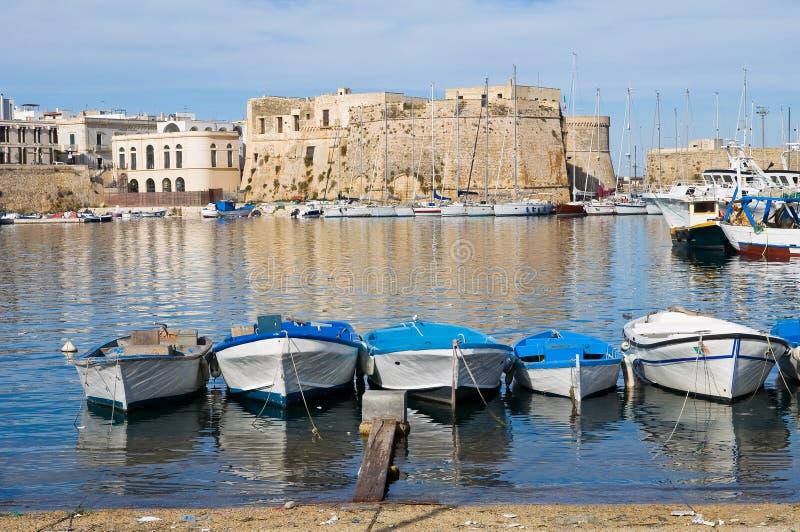 Panorama- beskåda av Gallipoli. Puglia. Italien. royaltyfri foto