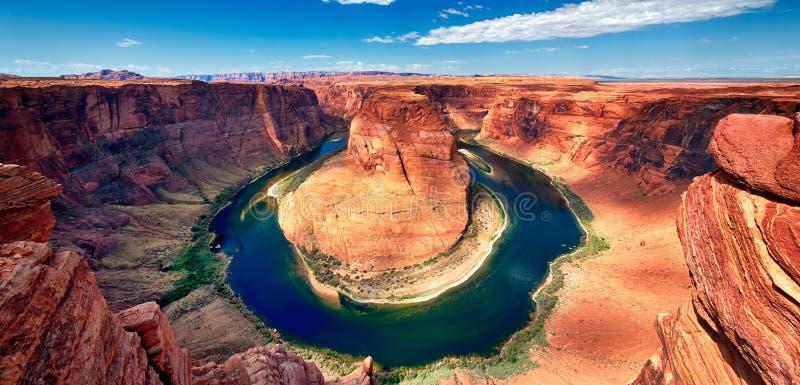 Panorama- beskåda av hästskokrökning fotografering för bildbyråer