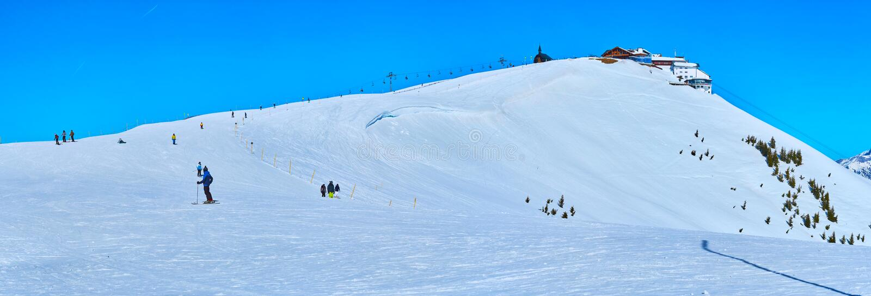 Panorama biały Schmitten halny szczyt, Zell jest Widzii, Austria zdjęcia stock