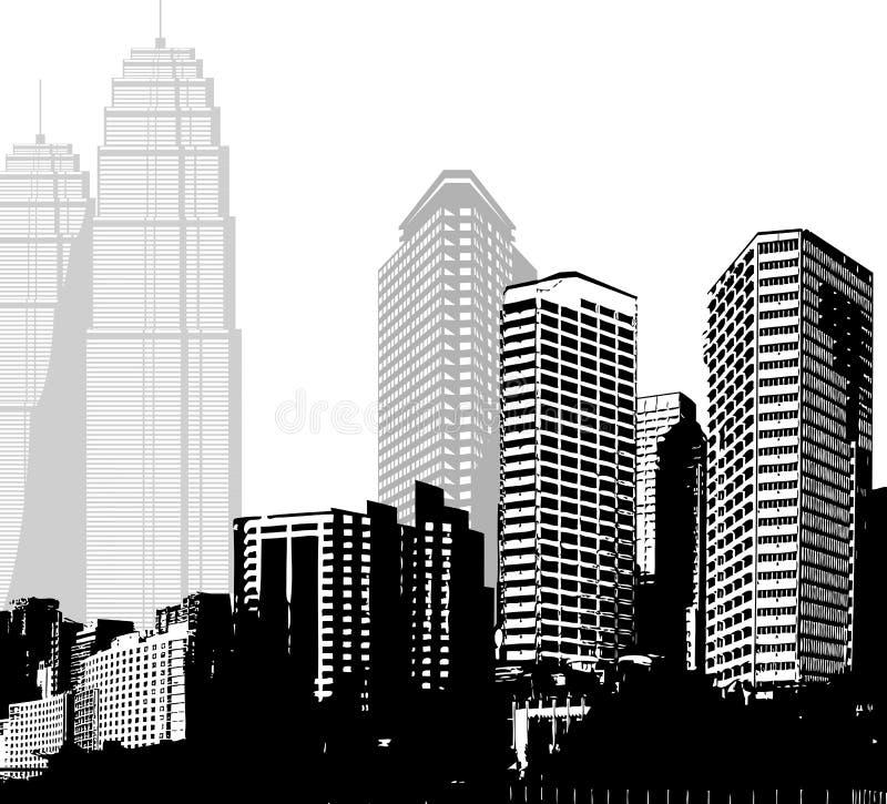 Panorama in bianco e nero dei grattacieli illustrazione di stock