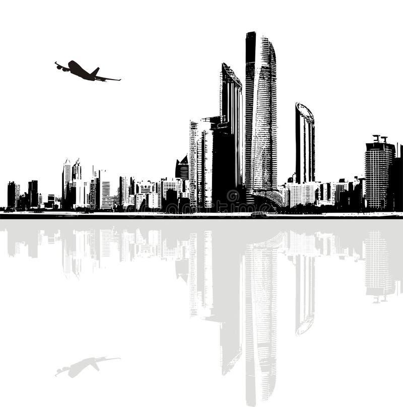 Panorama in bianco e nero delle costruzioni della città illustrazione vettoriale
