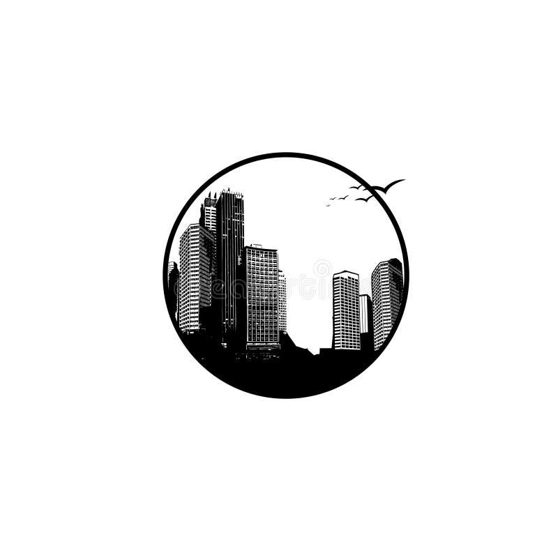 Panorama in bianco e nero di vettore dell'illustrazione di paesaggio urbano disposto nel cerchio royalty illustrazione gratis