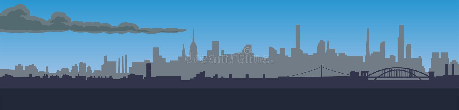 Panorama of the big night city, design for your projects royalty free illustration