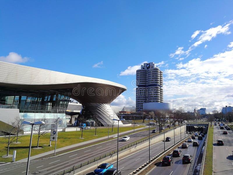 Panorama bij de BMW-Rand, BMW-zorg en BMW-Museum van terloopse opmerking royalty-vrije stock foto