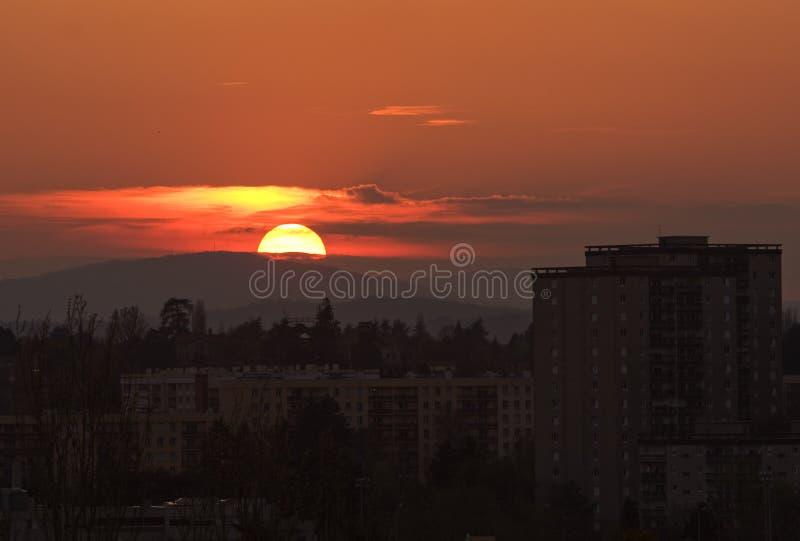 Panorama bij zonsondergang royalty-vrije stock foto
