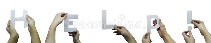 Panorama- bild av händer som rymmer inskrift`-hjälpen! `, fotografering för bildbyråer