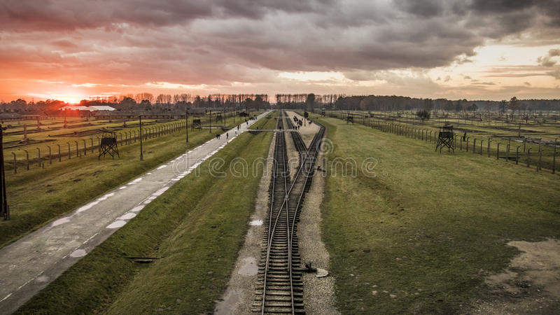 Panorama of the Birkenau concentration camp. In the sunset stock images