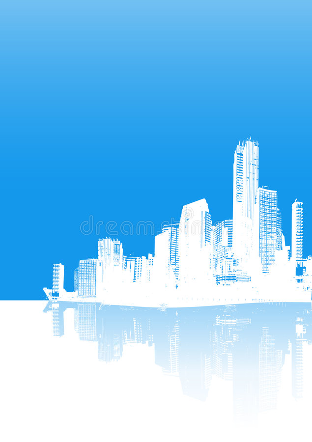 Panorama bleu de ville illustration stock