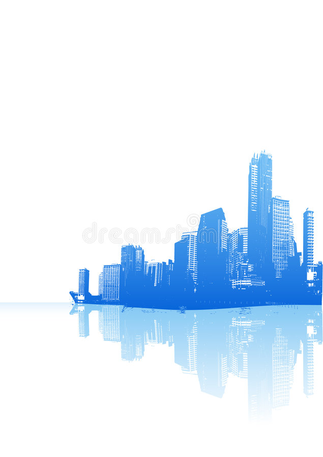 Panorama blu della città. Vettore illustrazione di stock