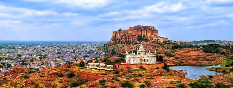 Panorama of blue city Jodhpur, India. Panorama view of the blue city of Jodhpur, Rajasthan, India, with Mehrangharh Fort and Jaswant Thada mausoleum stock image