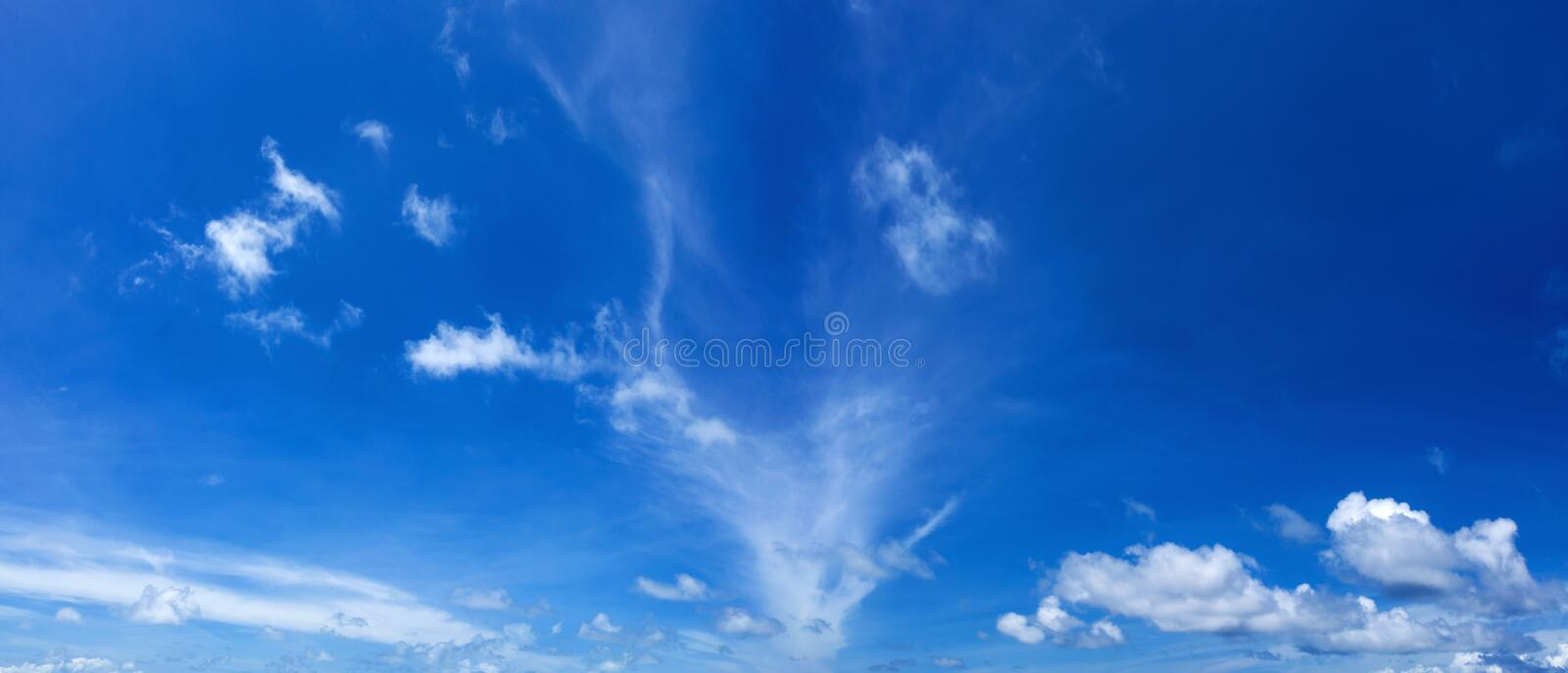 Panorama of blue sky stock photos