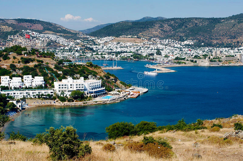 Panorama of Bodrum and Aegean sea. Panorama of Bodrum with Aegean see in Turkey royalty free stock photos