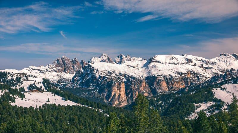 Panorama bonito do inverno com neve fresca do pó Paisagem com fotos de stock