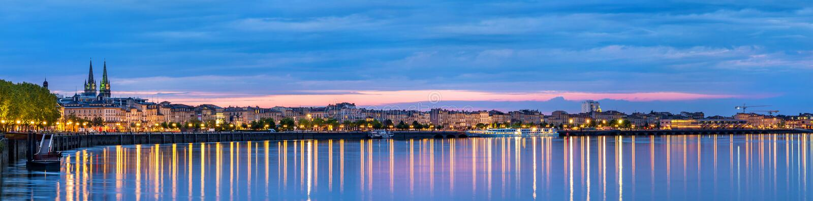 Panorama of Bordeaux in the evening royalty free stock images