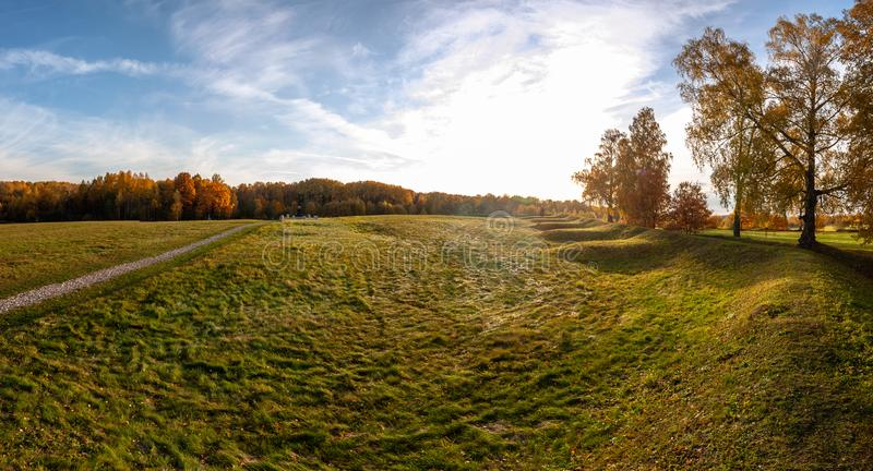 Panorama of Borodino field in Central Russia. Borodino field is a historical field located to the West of Mozhaisk, on the territory of the rural settlement of royalty free stock photo