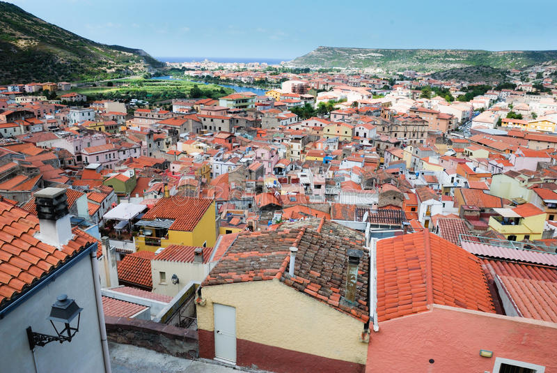 Panorama Bosa, Włochy fotografia royalty free