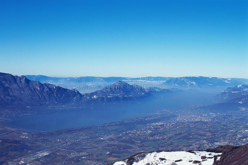 Panorama of Bourget lake in France. Panorama of Bourget lake, Chat mountain and Aix les Bains in Savoy, France stock photo